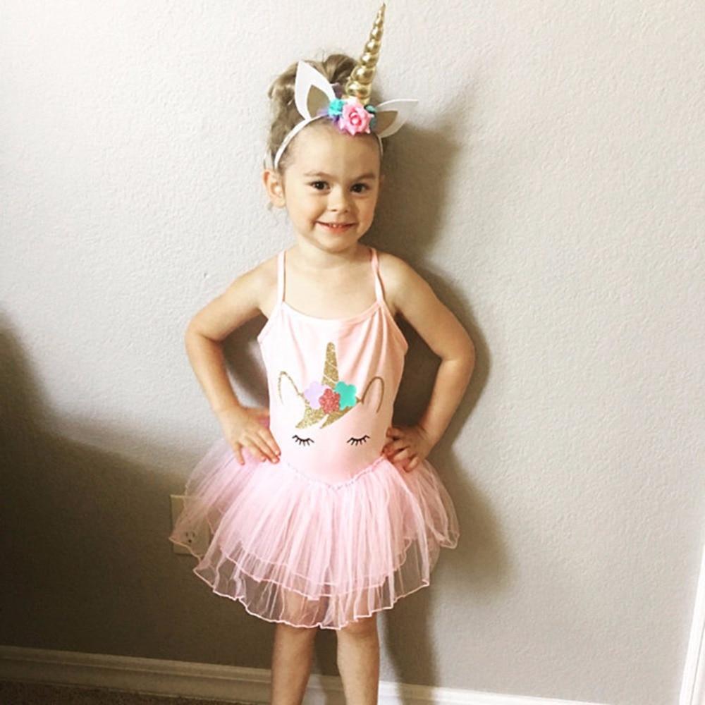 Kid Baby Girls Pink Lace Unicorn Princess Dress Pink Party