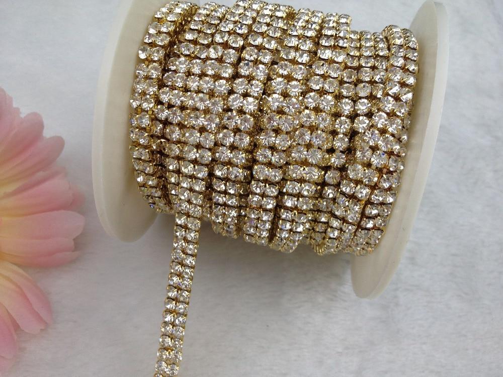 2 Rows 4mm 888 Rhinestone Gold chain Cake Ribbon Trim Wedding Decoration x  1 yard-in Rhinestones from Home   Garden on Aliexpress.com  0e62b5861b90