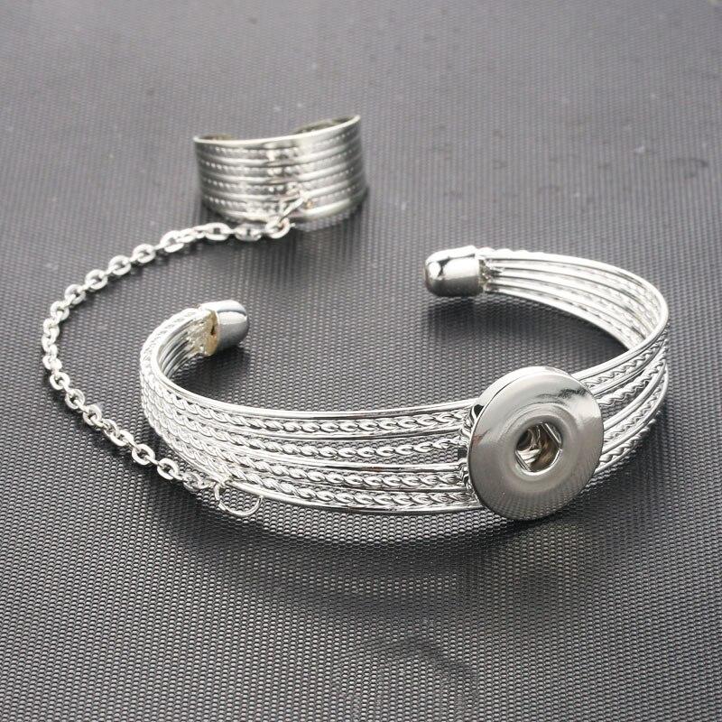 18MM Snap Button Jewelry Women Metal Bangle Elasticity Bracelet Retro Silver Color Charms Bangles Cuff Snap Jewelry 3591 snap button jewelry