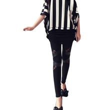 autumn NEW punk gothic rock legging sexy lace PU Leather splice  femininos Women apparel Leggings