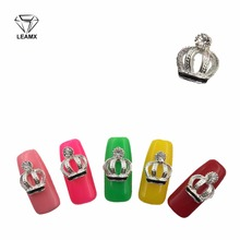 LEAMX 10pcs/pack 3D Nail Jewelry rhinestone alloy Shiny Silver Crown Metal Decoration Nails Art Manicure Design crystal Nail 10pcs 3d nail jewelry decoration nails art glitter rhinestone for manicure green rose design nail accessories tools