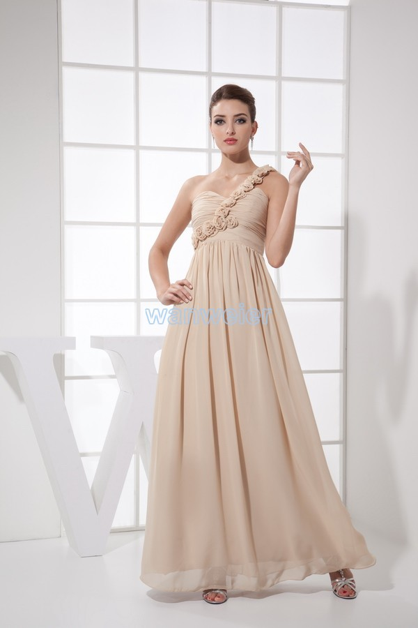 one shoulder 2016 long vestido beach formal gowns coral   dress   custom flowers chiffon sexy women   Bridesmaid     Dresses