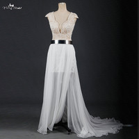 RSW1214 Deep V Neckline Cap Sleeves High Low Wedding Dresses Beach