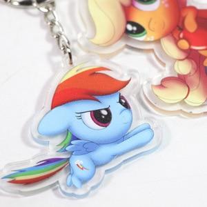 Image 5 - New 5.5cm My Little Pony Toys Charm Twilight Sparkle Rainbow Dash Fluttershy Pendant Key Holder Pony Keychain Party Supplies