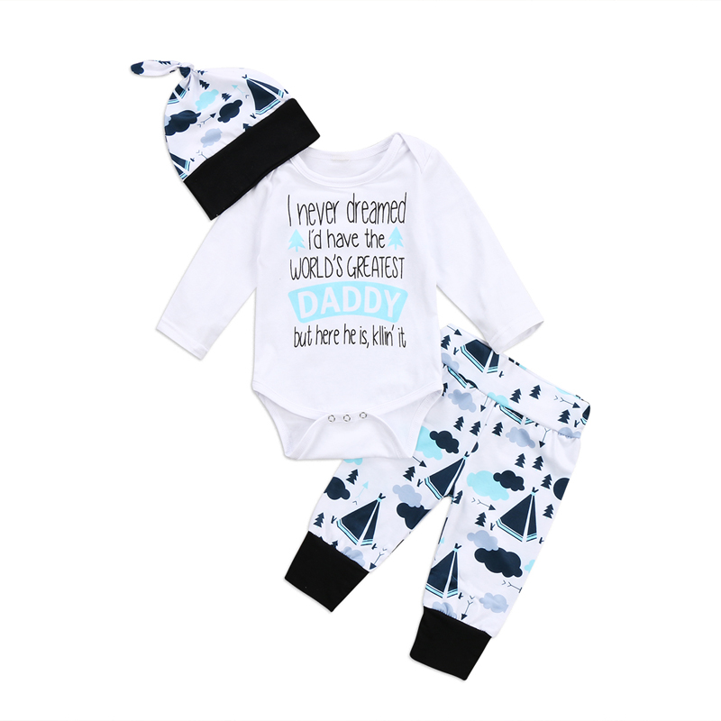New Casual Newborn Boys Girls Clothes Greatest Print Letter Daddy Romper Long Pants Clothes Outfits Set 0-24M