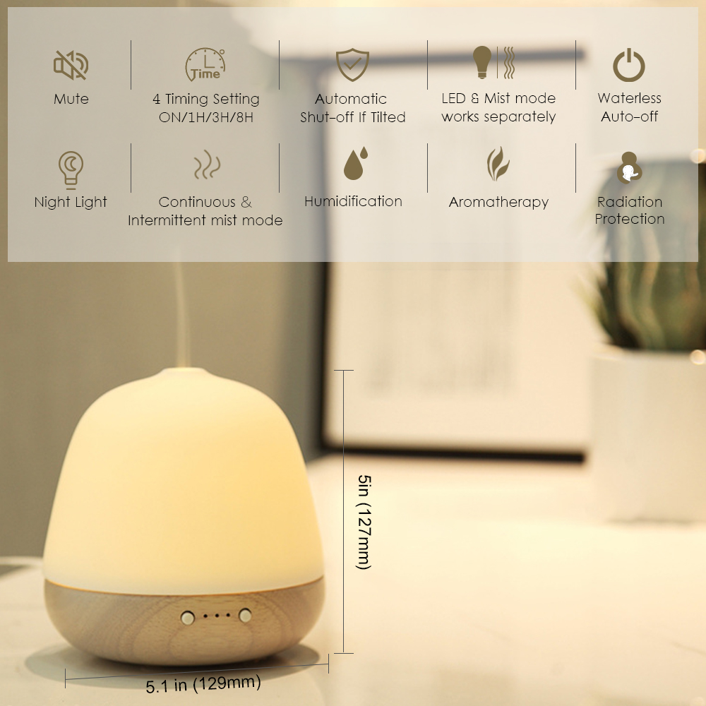 Ceramic Solid Wood Essential Oil Diffuser Aromatherapy Ultrasonic Aroma Diffuser