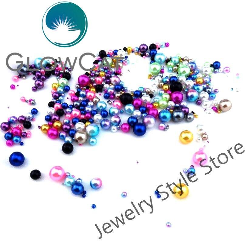 GLOWCAT 50pcs Round Ball Plastics Beads For DIY Locket Necklace ...
