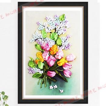 Nowy kwitnący kwiat craft prezent ściany wzór różne kolory kwiat niedokończone 3D wstążka cross stitch DIY haft szwy 22 tanie i dobre opinie Duszpasterska Obrazy Floral PAPER BAG Składane Zwykły haft krzyżykowy haft Inne