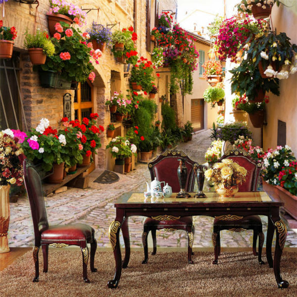Custom Photo Wallpaper Flowers Street Wallpaper European