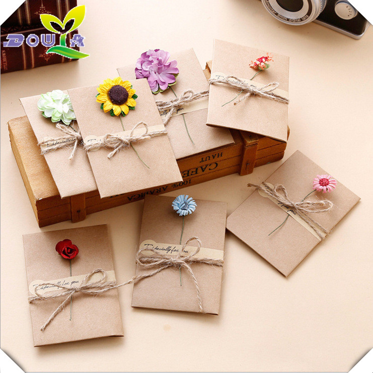 Fine Diy Retro Handmade Creative Greeting Cards Envelopes Dry Flower Funny Birthday Cards Online Fluifree Goldxyz