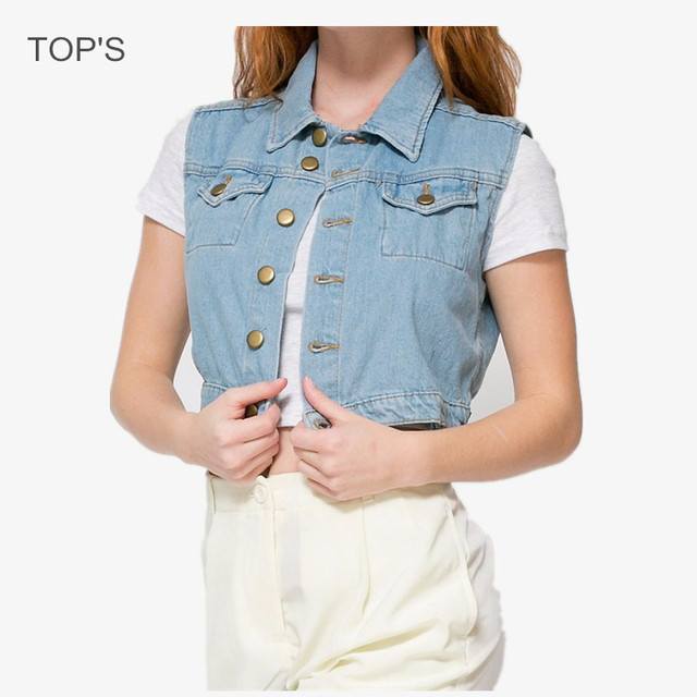 2016 Summer Style Women Denim Vest Female Sleeveless Jean Jacket jeletka Fashion Cardigans Short Vintage Casual Denim Vest Women