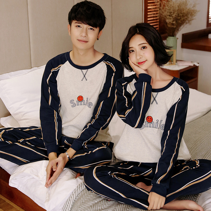 Spring Autumn Couple Pajama Cotton Striped Long Sleeve O-Neck Men Pajamas Set Women Tracksuit Couple Striped Sleepwear Homewear