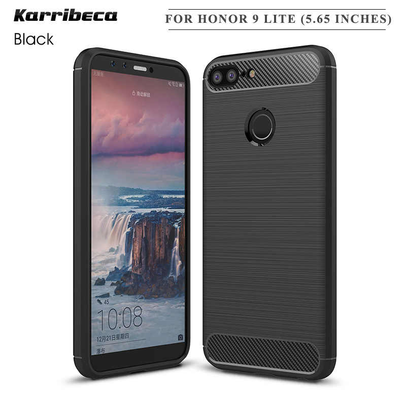 "Carbon fiber silicone case for Huawei Honor 9 Lite (5.65"") funda hoesje shockproof tpu brushed cover coque etui husa tok kryt"