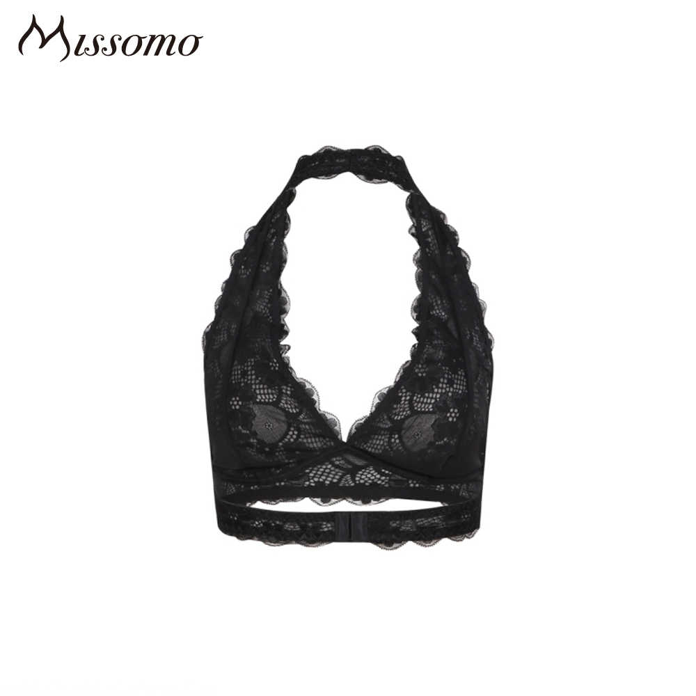 Missomo 2018 nueva moda mujer negro blanco encaje Sexy Push Up Bralette Semi-sheer ropa interior estampado flor Trim suave halter Bras