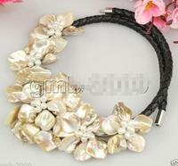 FREE SHIPPING HOT sell new Style >>>Hand Weave Natural White Freshwater Pearl MOP Shell 5 Flowers Bib Necklace 18
