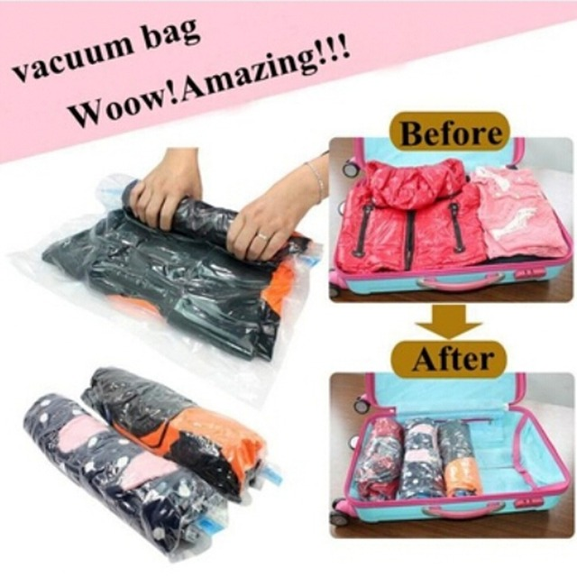 2pieces Lot Vacuum Compression Bags Traveling Pouch Clothes Holding Special Sealed Bag Storage