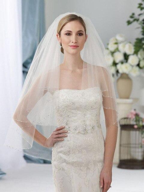 2018 Elegant Pendek Bridal wedding veil Dua lapisan 75 cm Panjang dengan Sisir putih veil untuk pernikahan Partai Beaded Ujung Tulle jilbab