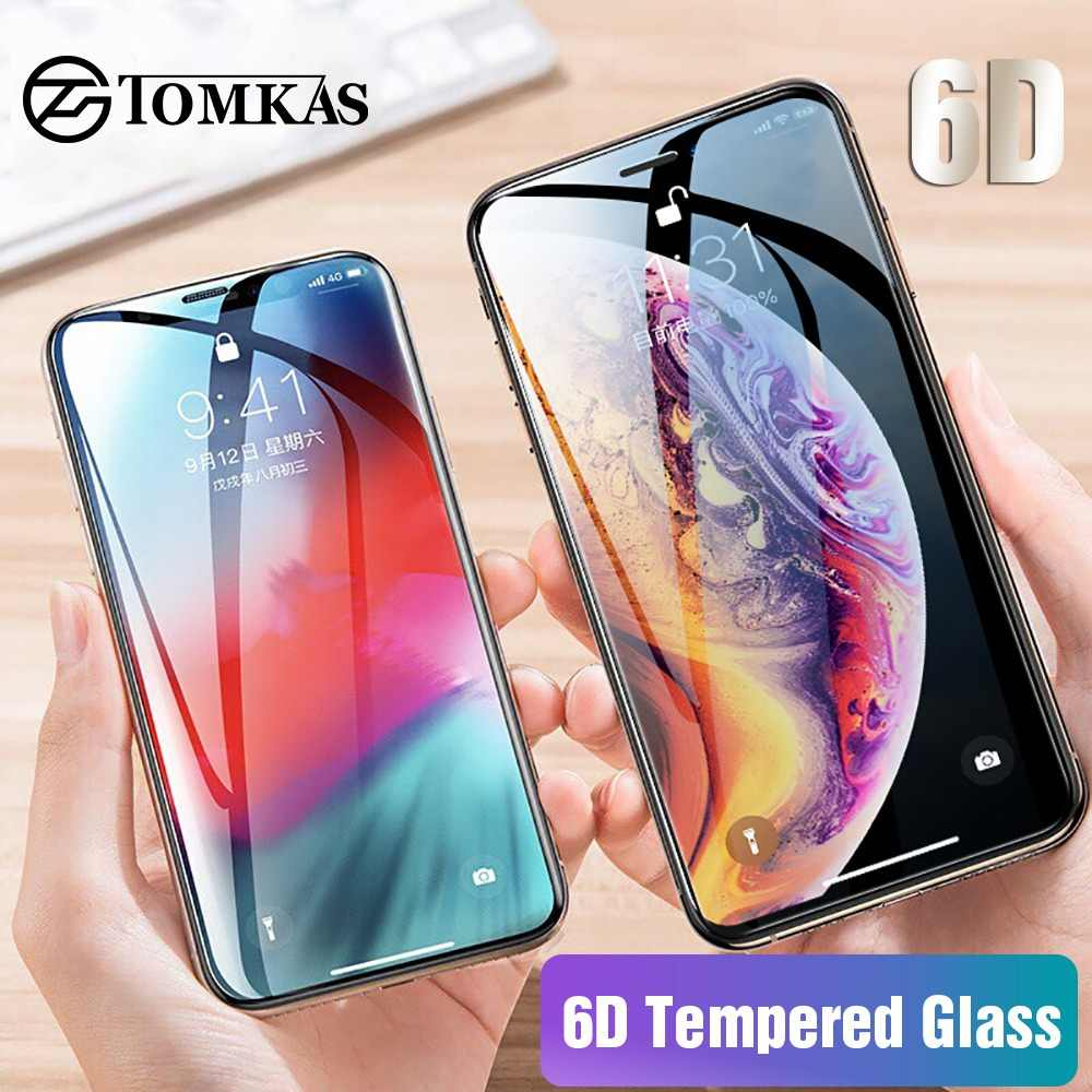 TOMKAS Glass For iPhone X XS Max XR Screen Protector 6D Full Cover Curved Edge Protective Glass For iPhone 6 s 7 8 Plus XS Max
