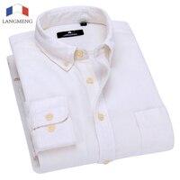 Langmeng 2017 Brand Spring Men Casual Shirts Mens 100 Cotton Long Sleeve Vintage Shirts Male Dress