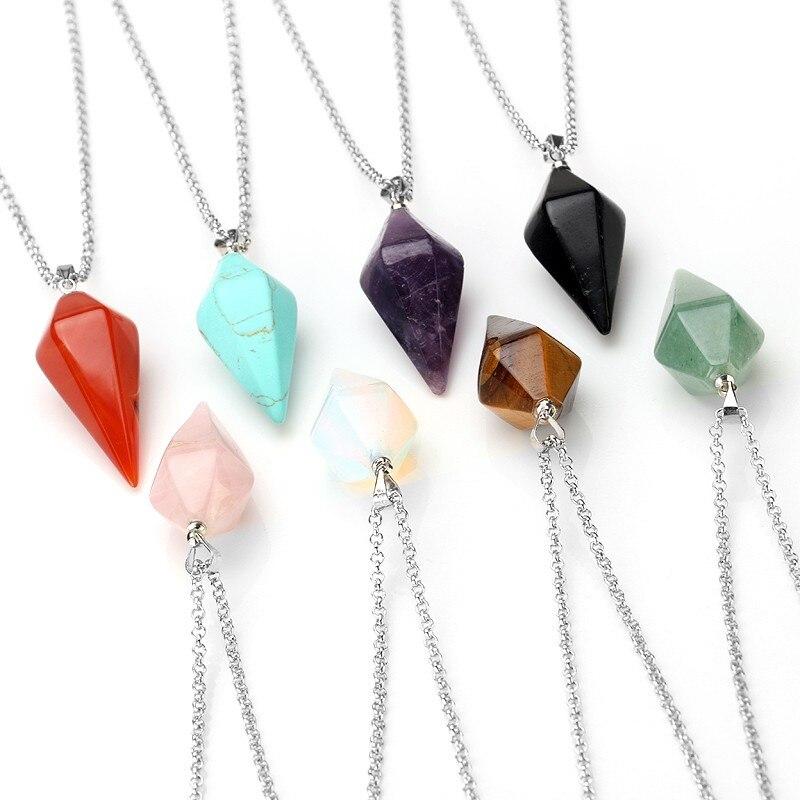 Natural Gem Hexagon Pyramid Reiki Pendulum Stone Pendant Charms Healing Chakra Amulet European Fashionable Jewelry For Women