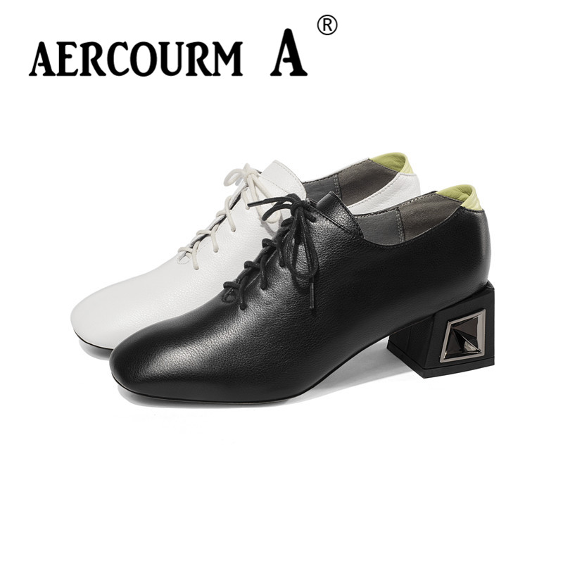 Aercourm A 2019 Girs Genuine Leather Lace-up Shoes Ladies Slip-on Solid Shoes Square Mid-Heel Women Square Toe Pumps Black Shoes aercourm a 2018 new women genuine leather shoes ladies white pink dress solid shoes thin heel women pointed head pumps fde1121