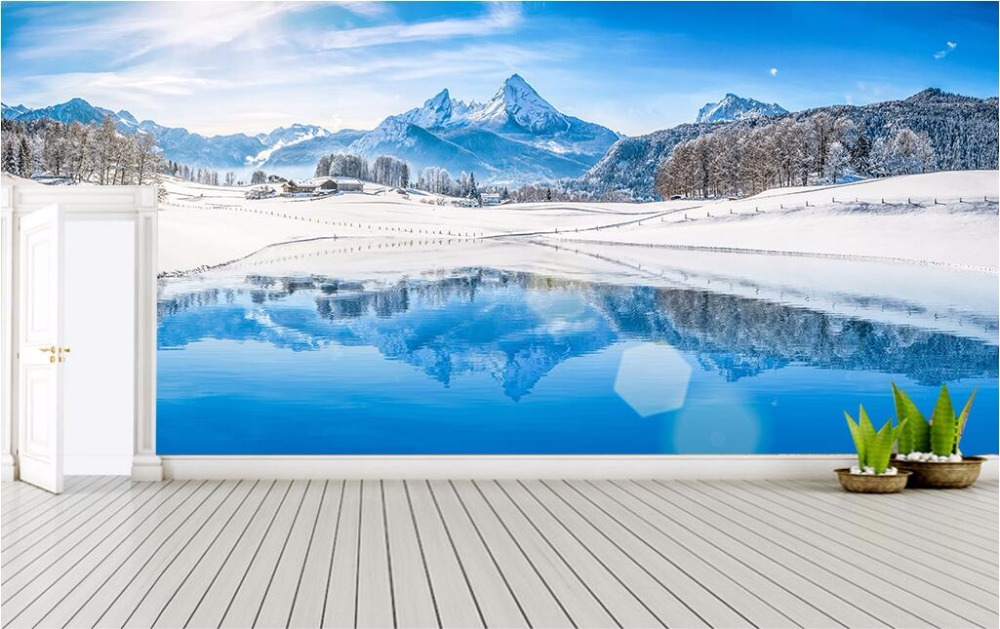 3d Wall Murals Wallpaper For Living Room Walls 3 D Photo Wallpaper Winter Snow Lake Home Decor Picture Custom Mural Painting