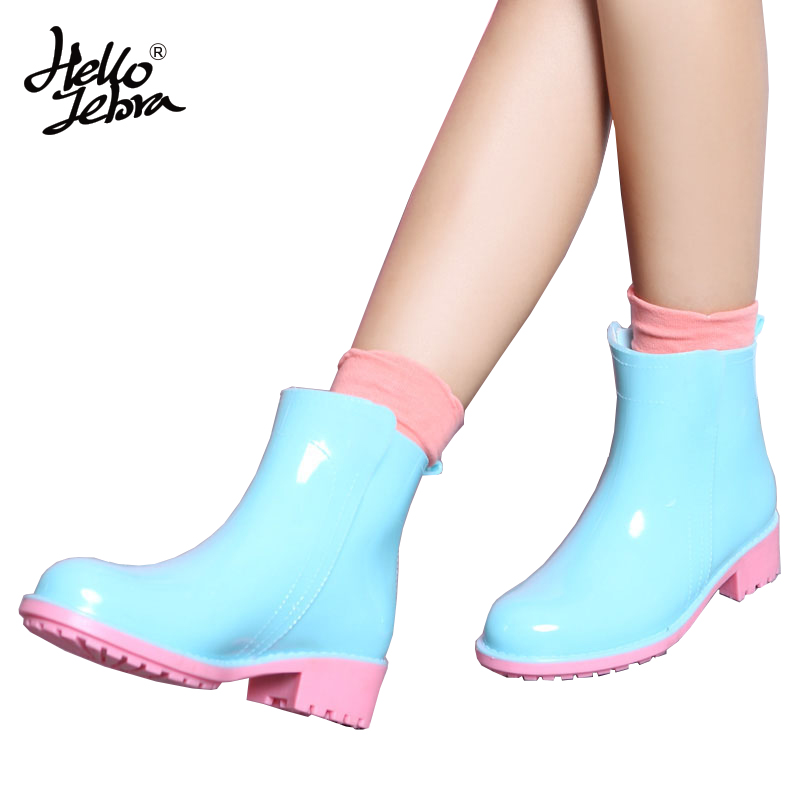 цены Hellozebra PVC Rain Boots Women Fashion Short Tube Ankle Lady Water Boots Anti-skid Girls Welly 2018 New Design