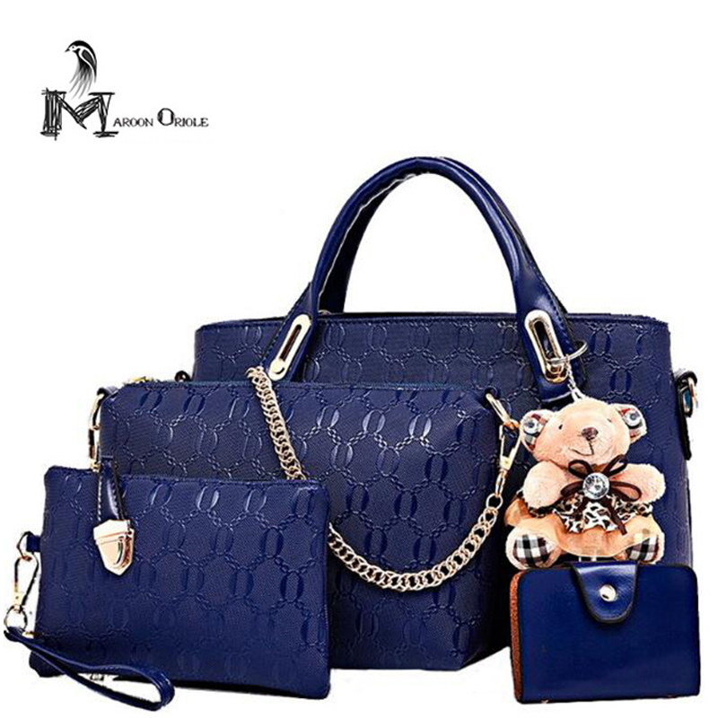Bag women <font><b>handbag</b></font> leather casual blue <font><b>handbag</b></font> women four set hangbag fashion chain quality women bag