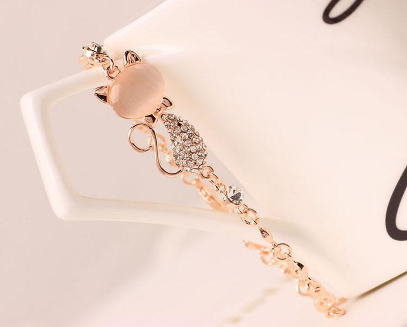 HTB1jVFmSFXXXXapXFXXq6xXFXXXn - Rose Gold Alloy Lovely Cat Bracelets for Women Femme Children Girl Gift Jewelry Charms Crystal Opals Rhinestone Bangle Chain