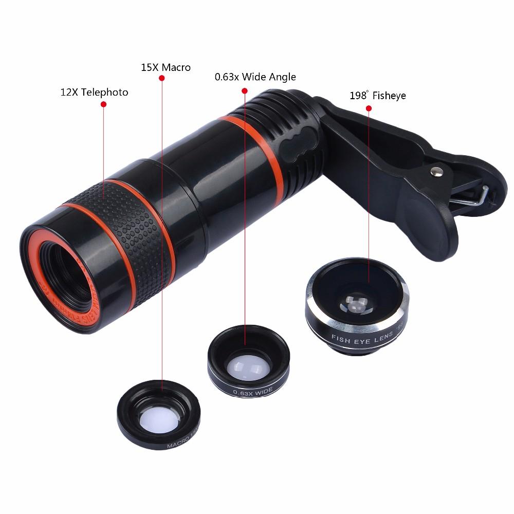 APEXEL 6IN1 phone camera lens 12X Telescope telephoto Zoom+fisheye wide angle macro Lens kit For iPhone7 6S plus Samsung s8 7