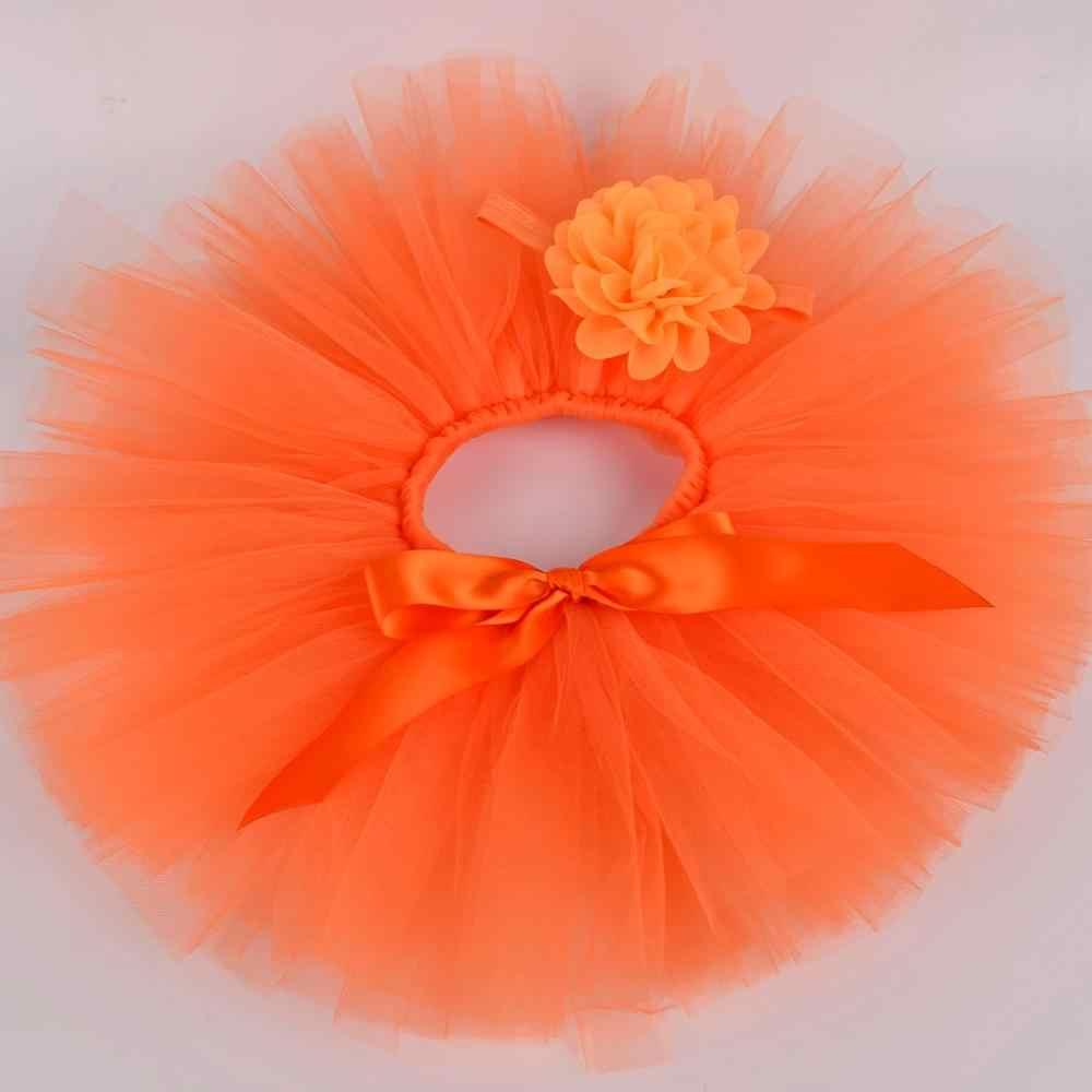 Bebé sólido naranja mullido tutú falda y flor diadema Conjuntos Bebé cumpleaños fiesta tul falda recién nacido bautismo ropa foto Accesorios