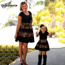 Fashion Mom And Daughter Dress Leopard Print Short Sleeves Dresses Mom Daughter Patchwork Polyester Clothes Girls Family Outfit