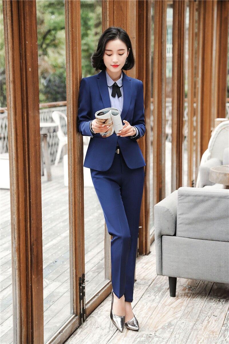 Formelle Blazers Avec Femmes Dark Hiver Ensembles black Pantalon Convient Bureau Uniforme Automne Pantsuits Pantalons Styles Dames Pour Blue Les Et Vestes Ensemble rwrBTt