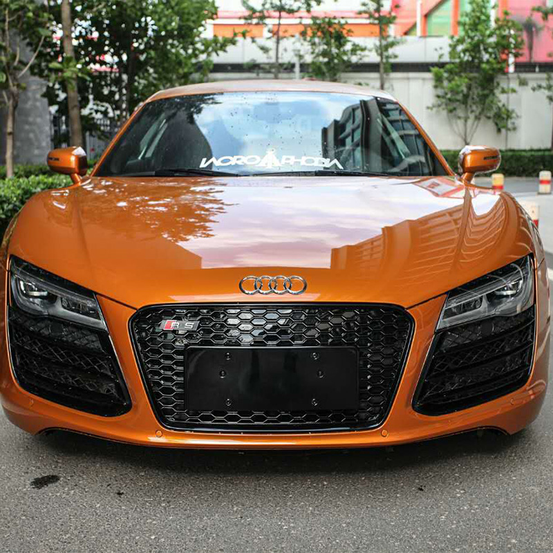 R8 Modified RS Style Μαύρο μπροστά Honeycomb Hood Center Grill Grill για το Audi R8 2014 2015 2016