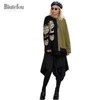 2017 Biutefou yeni geliş boncuk inci sahte İki adet elbiseler kadın moda kış yama tasarımlar fermuar dekorasyon elbiseler