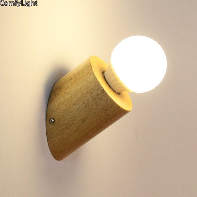Applique lampe nordique design bois vanité lumière simplicité led E27 lecture nuit enfant chambre luminaires décorer Tatami miroir