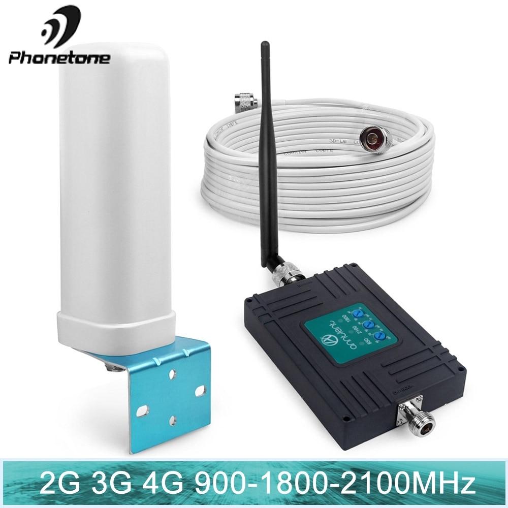 Amplificateur de Signal de téléphone portable 70dB 2G 3G 4G répéteur de signal GSM 900/1800/2100 MHz ensemble d'antenne de répéteur de données vocales à trois bandes