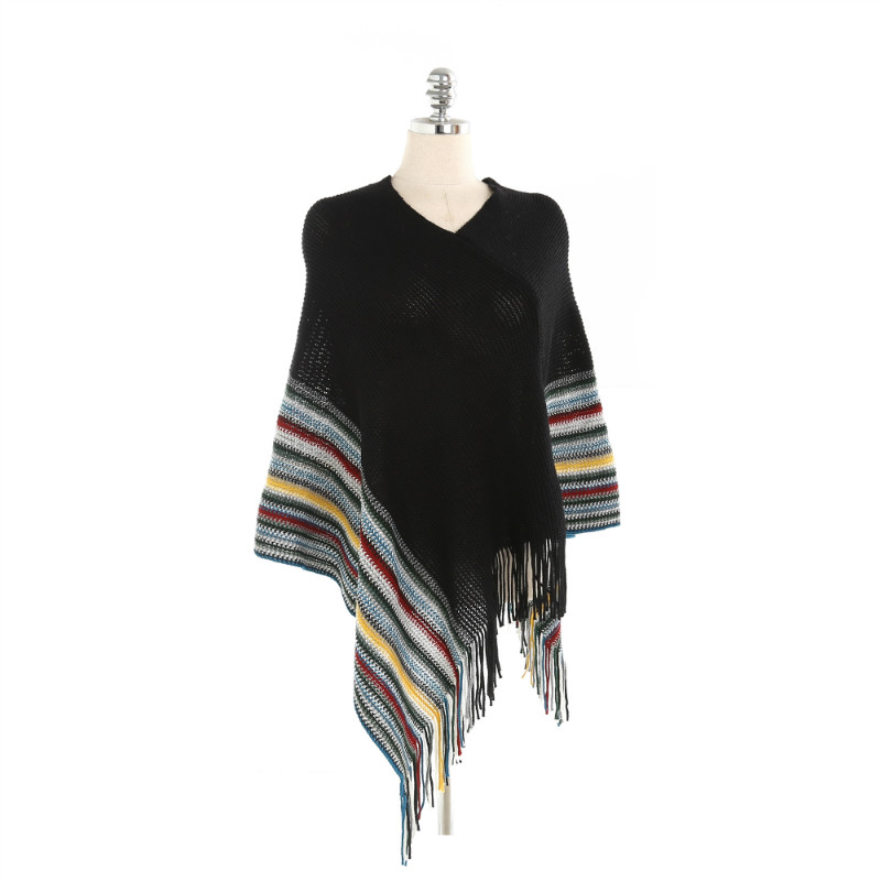 2018 New Arrival Winter Cashmere Pashmina Women Scarf Shawls Elegant Lady Poncho Capes Tassel Multicolor Striped Scarves Wrap