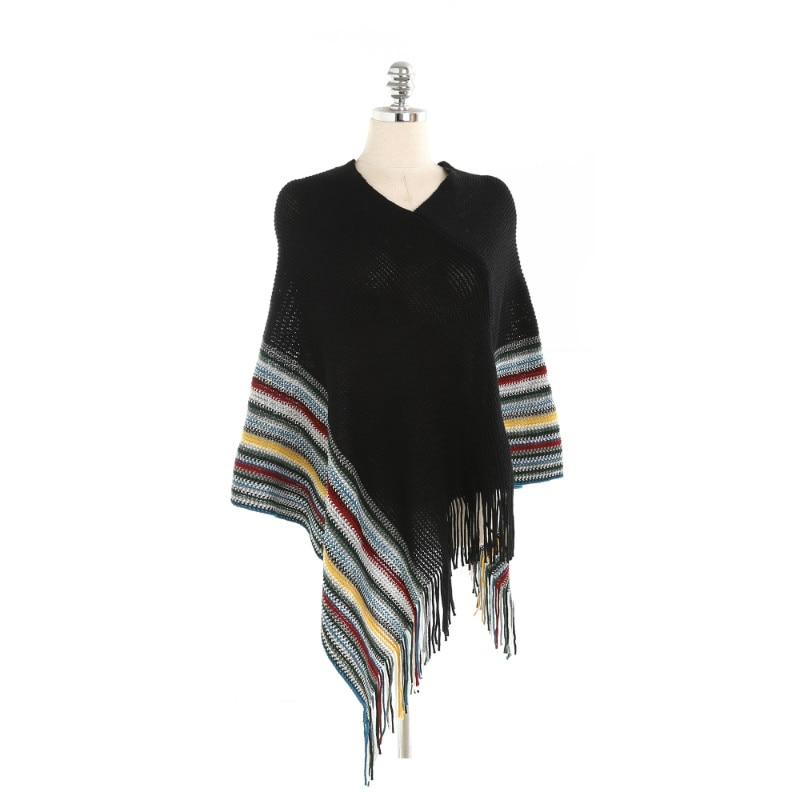 2018 New Arrival Winter Cashmere Pashmina Women   Scarf   Shawls Elegant Lady Poncho Capes Tassel Multicolor Striped   Scarves     Wrap