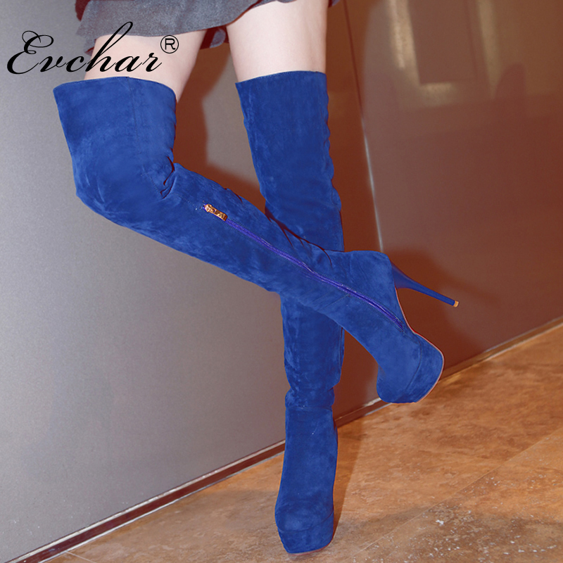EVCHAR Women Thigh High Boots Sexy super High Heels Platform Boots Over the Knee Boots Women Winter Autumn Shoes Plus Size 32-43