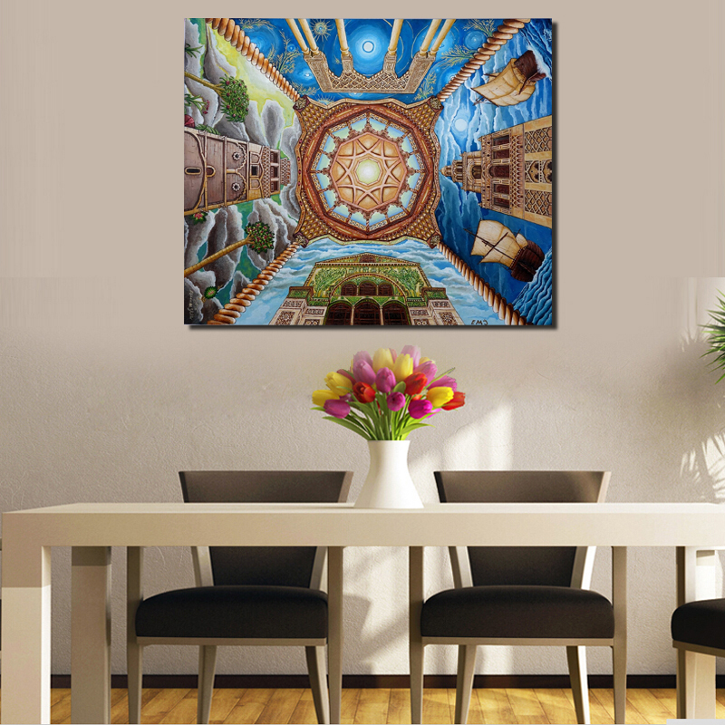 Islamic Art And Architecture Canvas Painting Print Living Room Home Decoration Modern Wall Art Oil Painting Poster Salon Picture in Painting Calligraphy from Home Garden