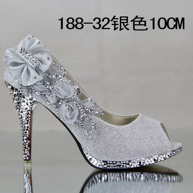 Women s shoes big flower red wedding shoes high-heeled shoes silver gold  bridal pumps for women open toe sandals free shipping 825875ea9070