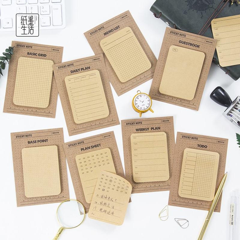 8 Designs Planner Life Sticky Note Memo Pad Kraft Paper Lable Notepad Daily Plan Sticky Notes School Supplies все цены