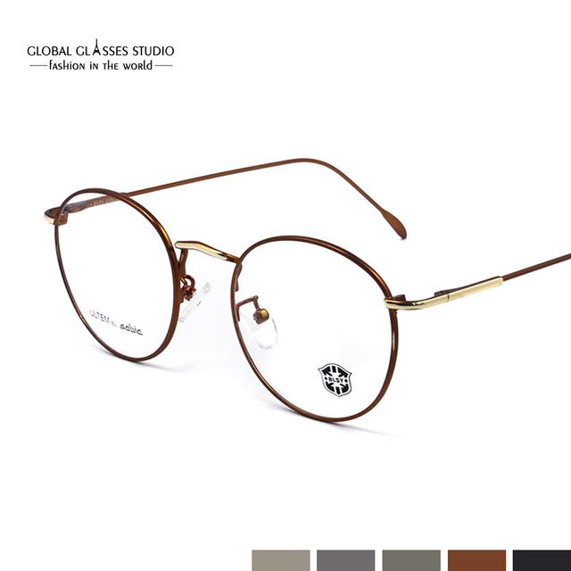 Miopía Gafas Ópticas Marco de la vendimia Redonda de Metal Hombres Mujeres unisex gafas gafas gafas de grau gafas 2171