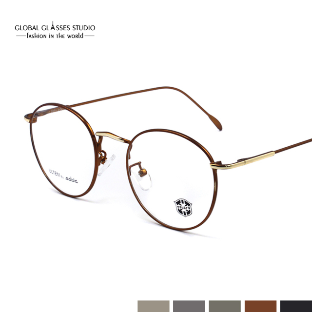cdf481c6d7 Vintage Optical Eyeglasses Frame Myopia Round Metal Men Women unisex spectacles  eye glasses oculos de grau