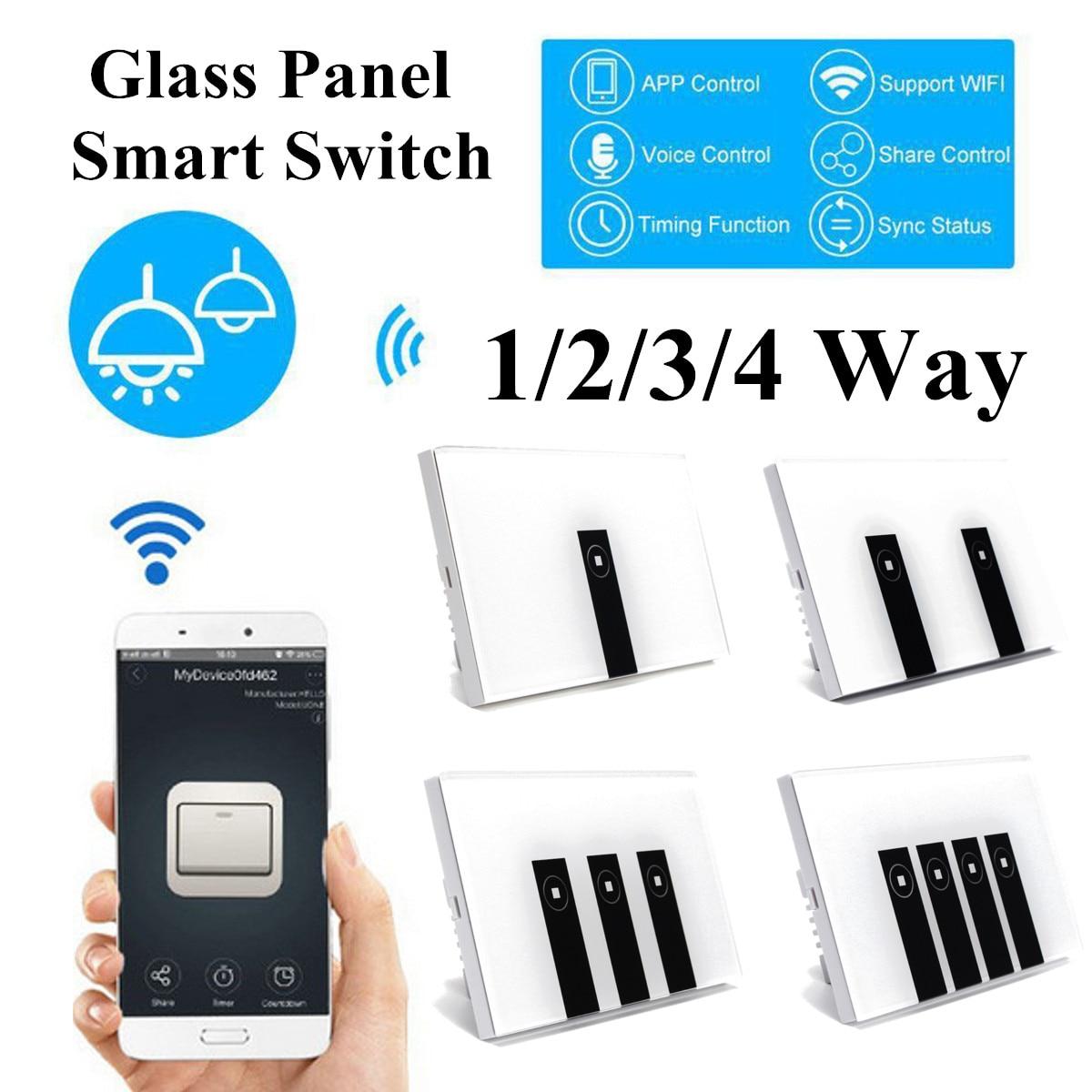 Smart télécommande APP Wifi commutateur tactile 1/2/3/4 Gang panneau de commutateur de lumière murale en verre travailler avec Alexa, Google fournitures pour la maison