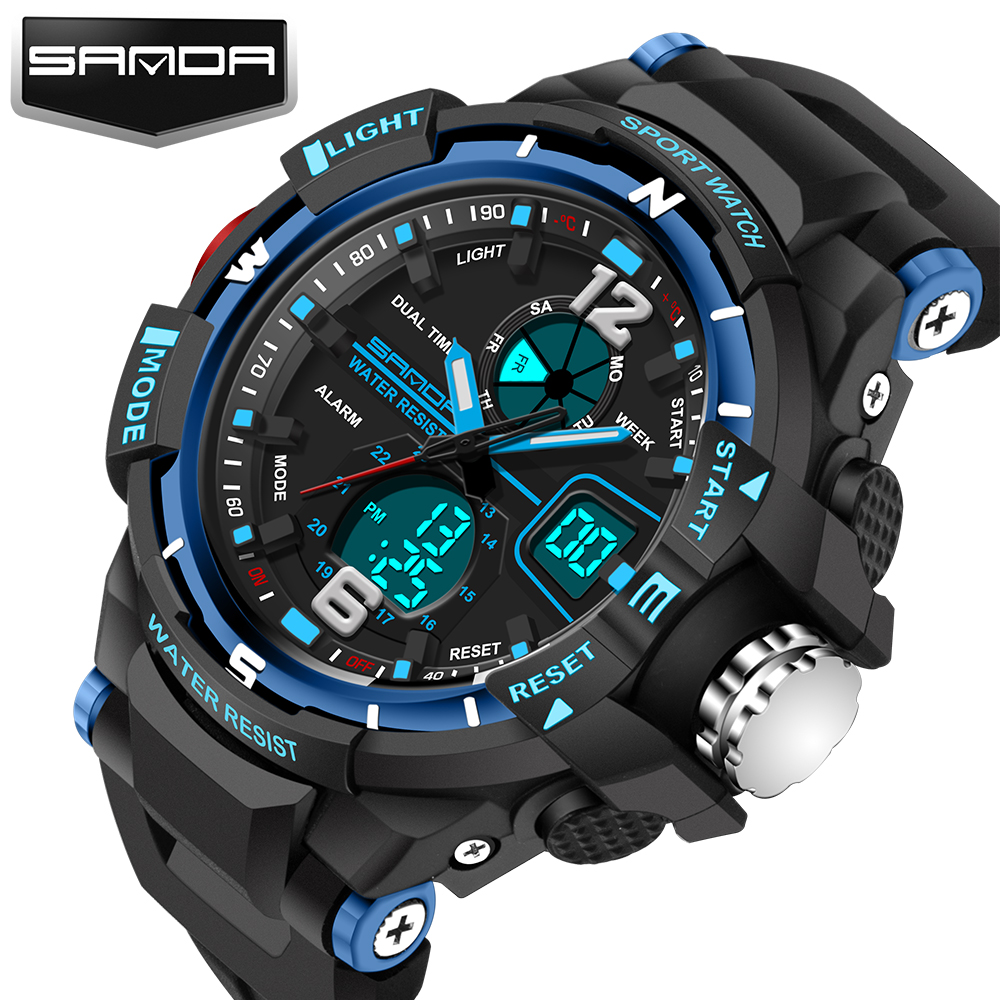 New Fashion SANDA Brand Barn Sport Klockor LED Digital Quartz Militär Watch Boy Girl Student Multifunktionella Armbandsur