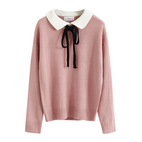 Preppy Style Patchwork Outwear Ladies Women Sweaters and Pullovers Knitwear Cute Loose Autumn Winter Harajuku Kawaii 2SWT1117