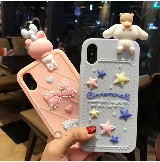 hot sales 52434 ee7d8 US $7.27 9% OFF|For iPhone X / 8 / 7 / 7Plus kids case 3D hello kitty  Melody Cases For iphone 8 plus 6splus cute Soft back cover case girl  pink-in ...