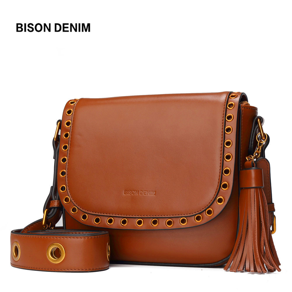 BISON DENIM Genuine Leather Women Bag Tassel Shoulder Bag Luxury Handbags Women Bags Designer Female Saddle Crossbody Bag N1344 bison denim brand women bags genuine leather shoulder bag female for women 2018 luxury crossbody bag bolsa feminina n1560